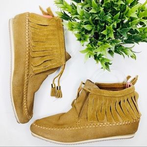 CALL IT SPRING ankle moccasin camel brown bootie